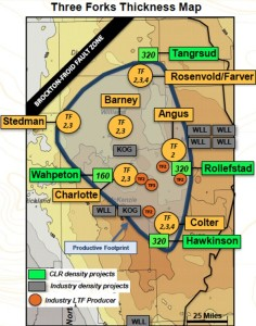 Continental Resources Three Forks Thickness Map