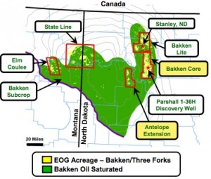 EOG Resources Bakken Acreage Map