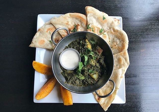 Aloo Palak: spinach, potatoes, mustard seeds. #chaishai #kansascity