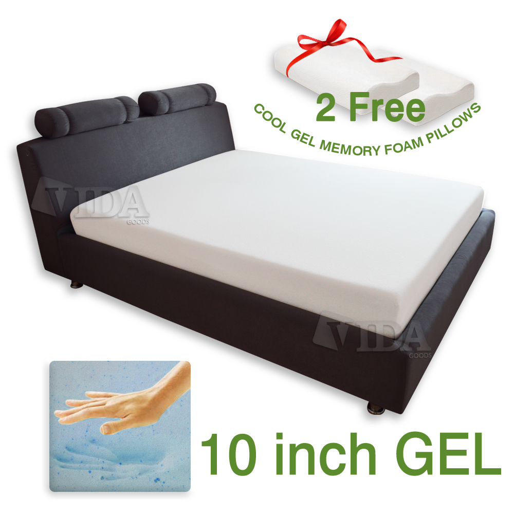 "10"" Memory Foam Cooling Mattress just $266.00! Plus 2 free Memory Foam Pillows!"
