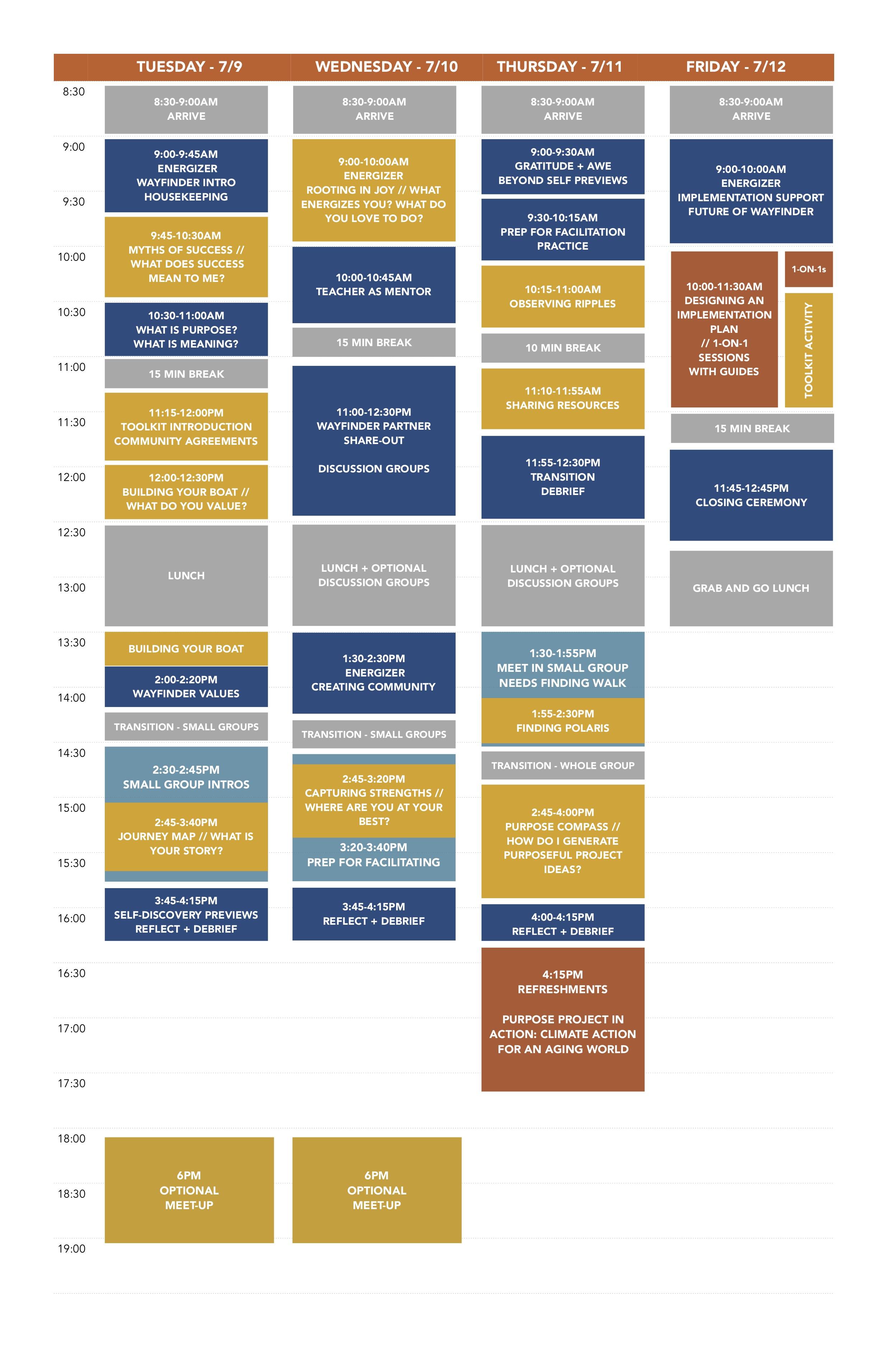 East Coast Summer Institute Schedule