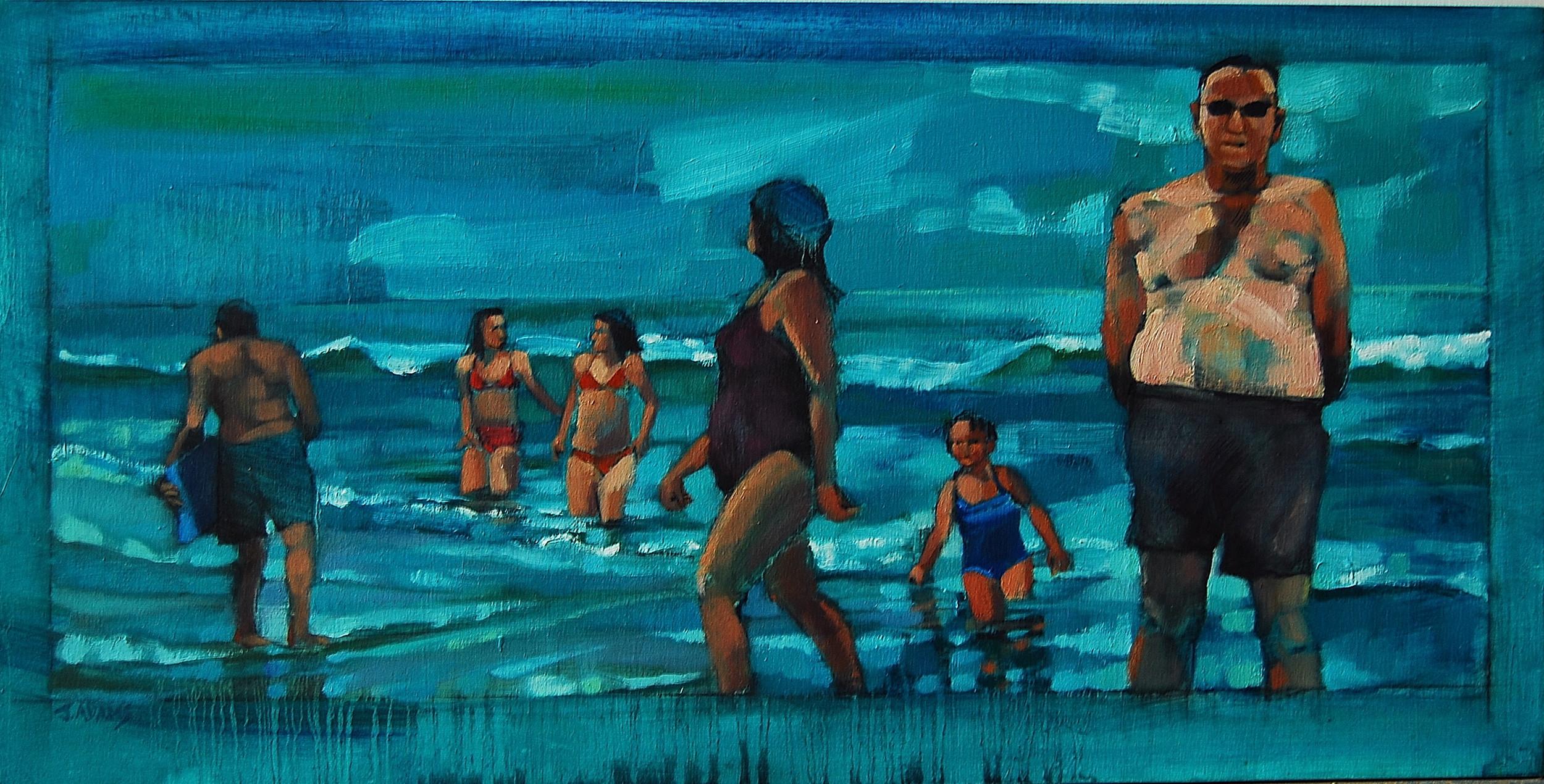 Water's Edge, oil on panel, 12x24, 2009
