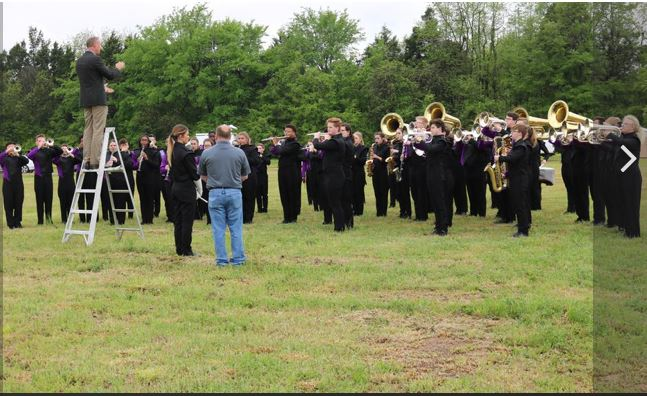 Band members from Southaven High School play the national anthem at the Silo Square groundbreaking.