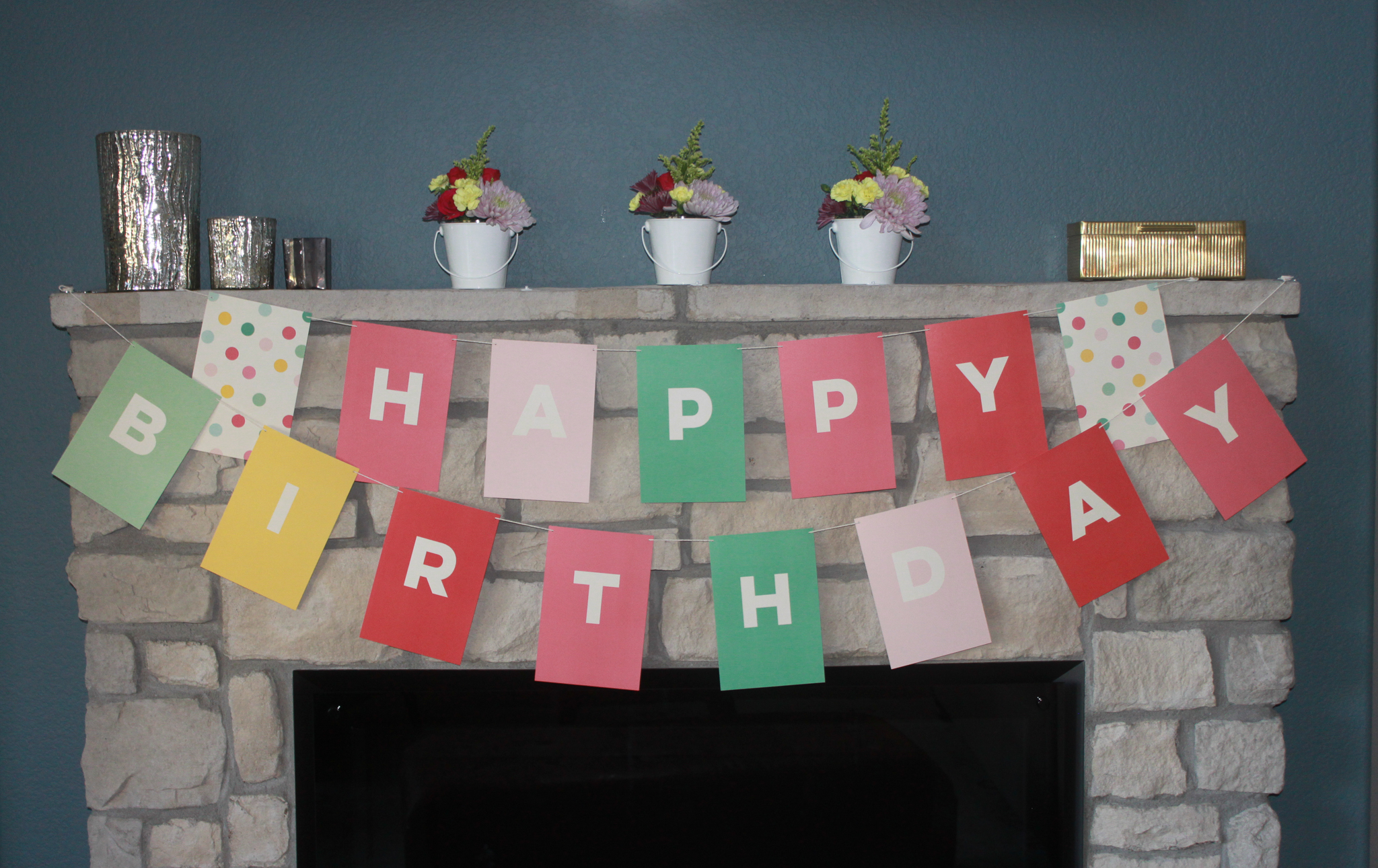 Happy Birthday Pastel Banner - OhSoFancyParty.com
