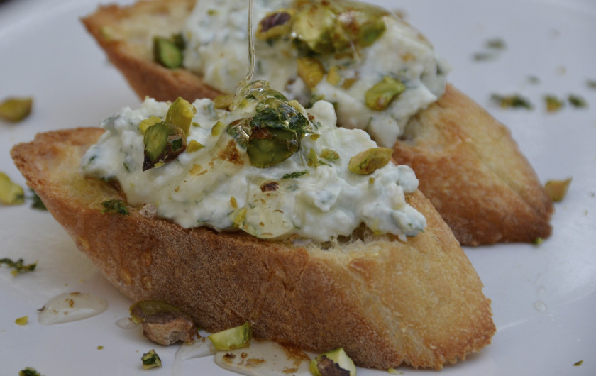 Herbed Ricotta with Pistachios and Honey