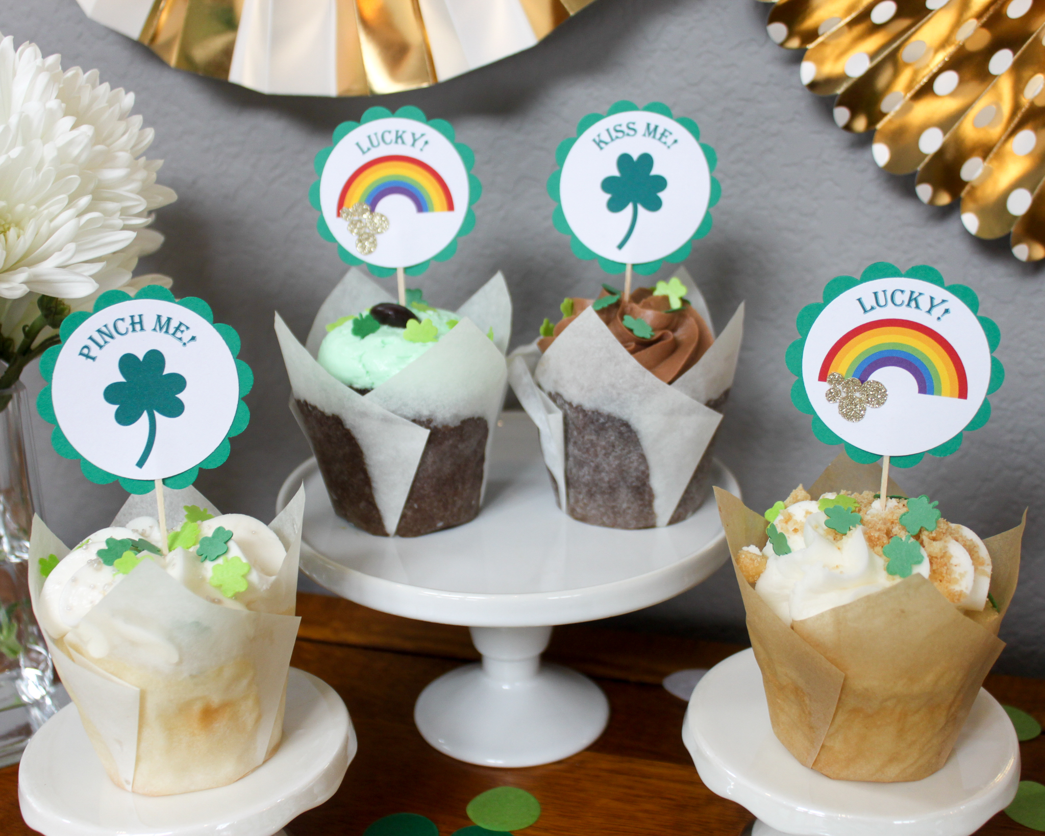 St. Patrick's Day Cupcake Toppers - OhSoFancyParty.com.jpg