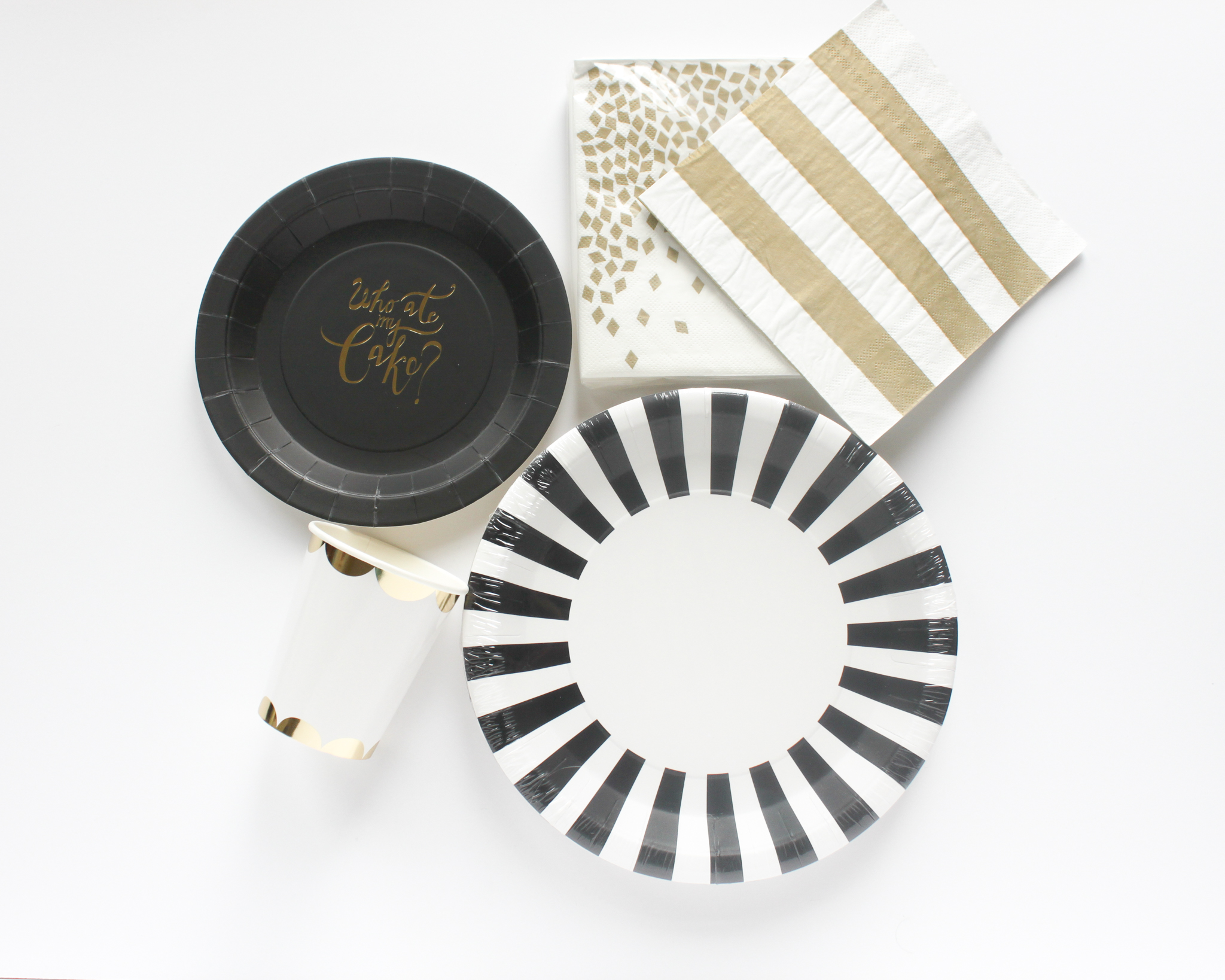 Black and Gold Tableware - OhSoFancyParty.com