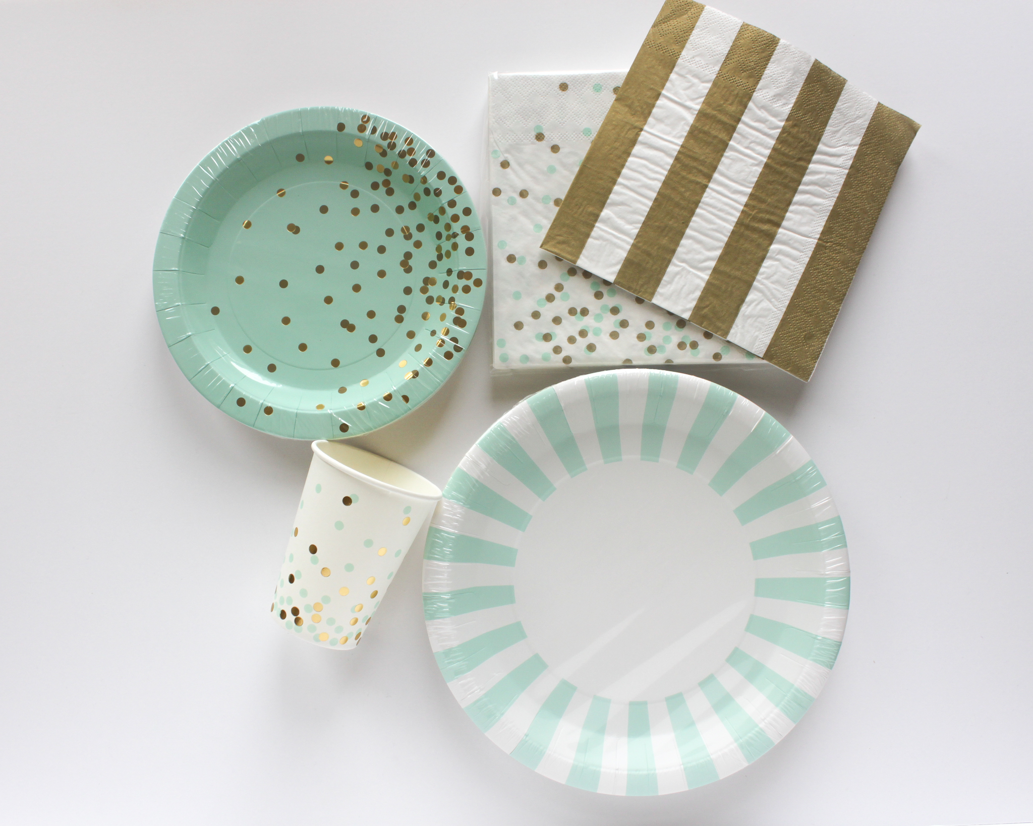 Mint and Gold Confetti Tableware - OhSoFancyParty.com