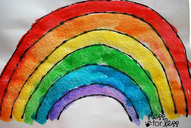 www.messforless.net - rainbow-craft-black-glue-and-salt-watercolor-rainbow-salt-painting/
