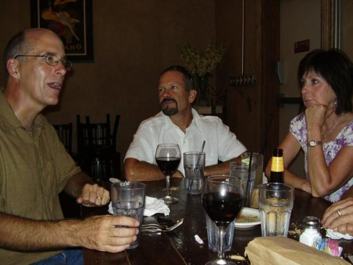 Penny's Farewell @ Auntie's Pasta - Here's Jerry (left), Billy (center) and Sandi enjoying their pre-meal beverages.