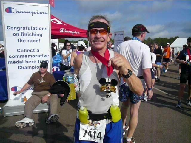 After completing the Walt Disney World Marathon, Richard shows his two post run treats - an ice cold Gatorade and a Mickey Mouse medal (2008-01-13)