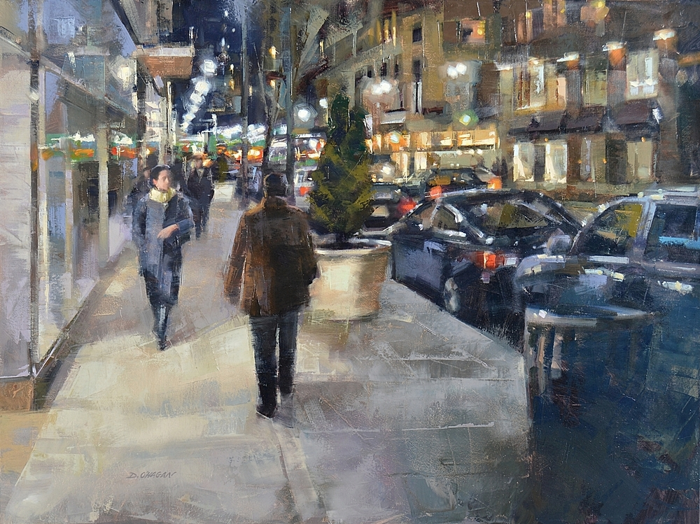 """New York City - Night""</br>36"" x 48""</br>Oil"