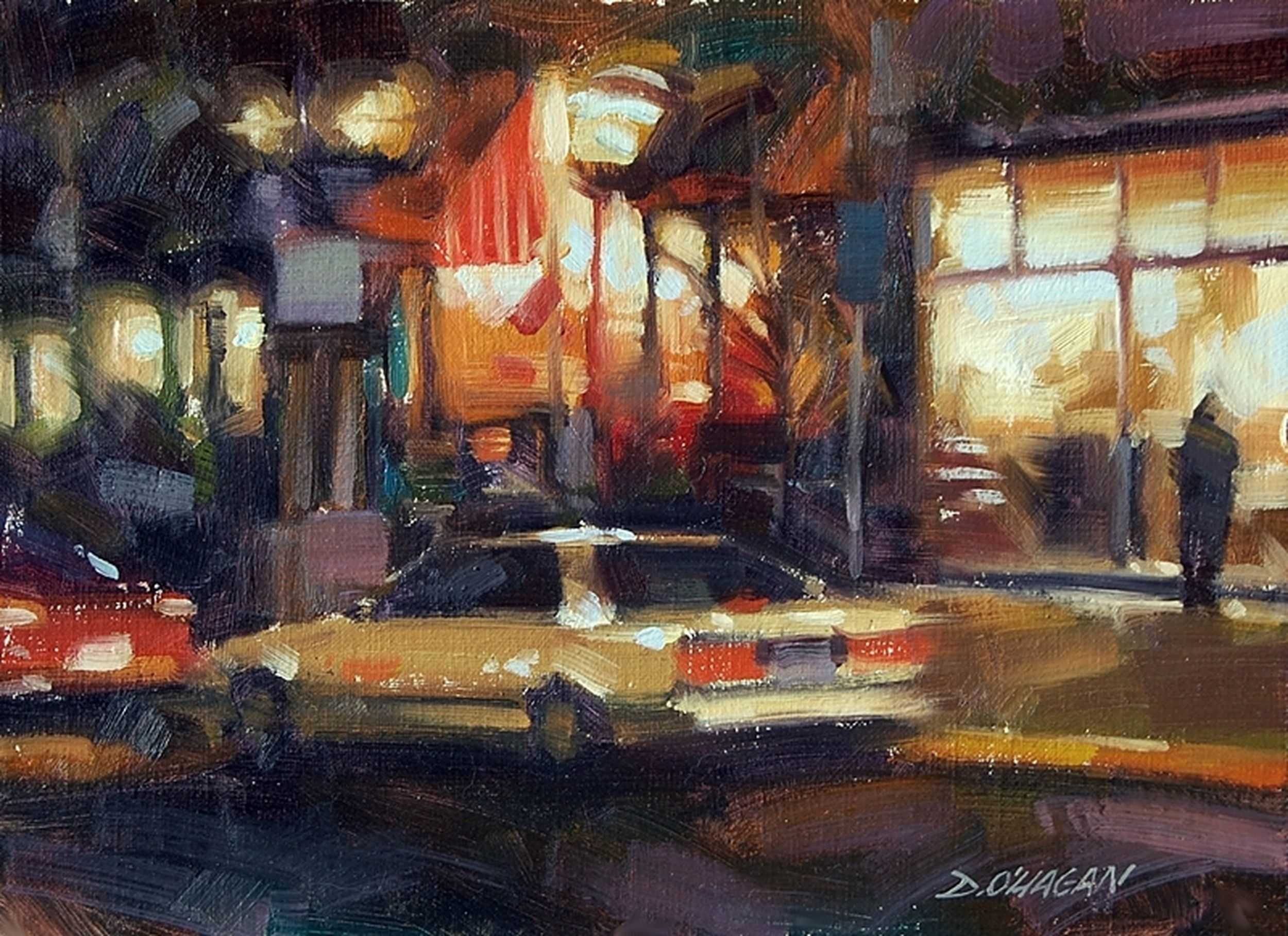 """Night Lights, Larimer Square"" </BR>9"" x 12""</BR>Oil"