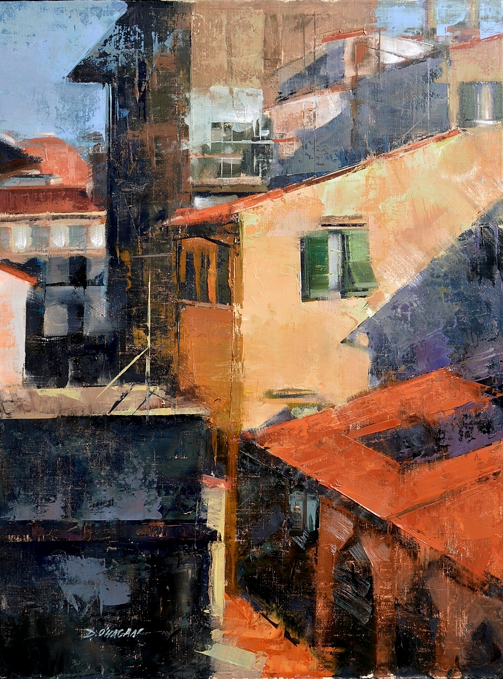 """Spanish rooftops, Madrid""</br>18"" x 24""</br>Oil"