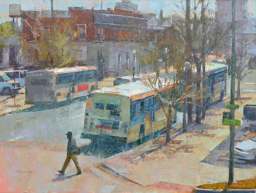 """Three Buses, Denver""</br>36"" x 48""</br>Oil"