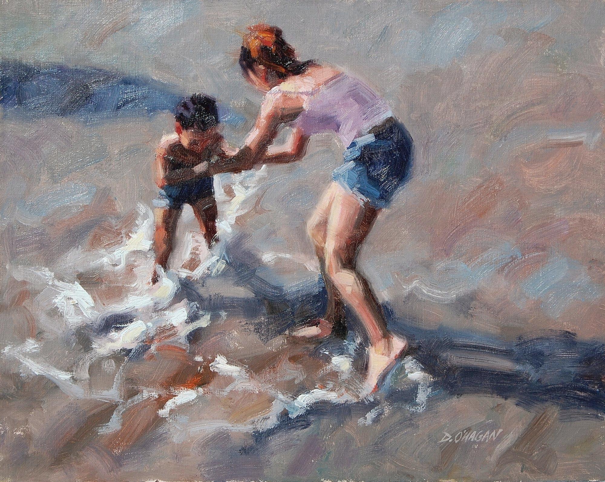 """""""Beach Play""""</br>16"""" x 20""""</br>Oil"""