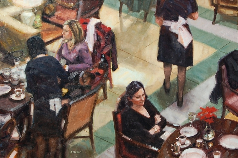 """Tea in the Lobby""  </br>48"" x 72""    </br>Oil"