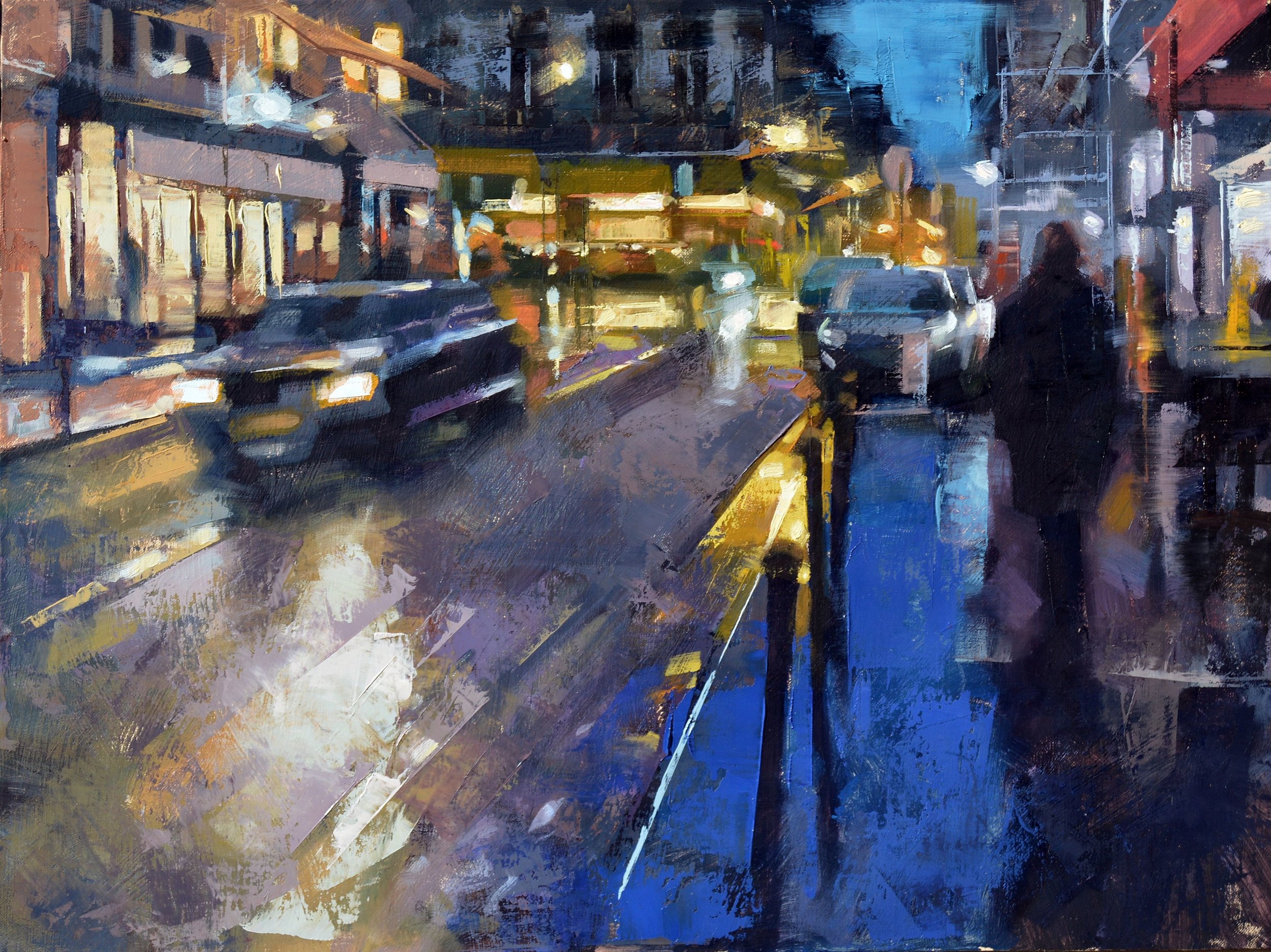 """The 9th Arrondissement at Night, Paris""<br>18""x 24""<br>Oil"