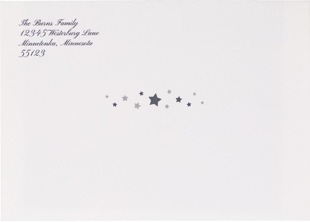 'All is Calm Stars' on White Envelope