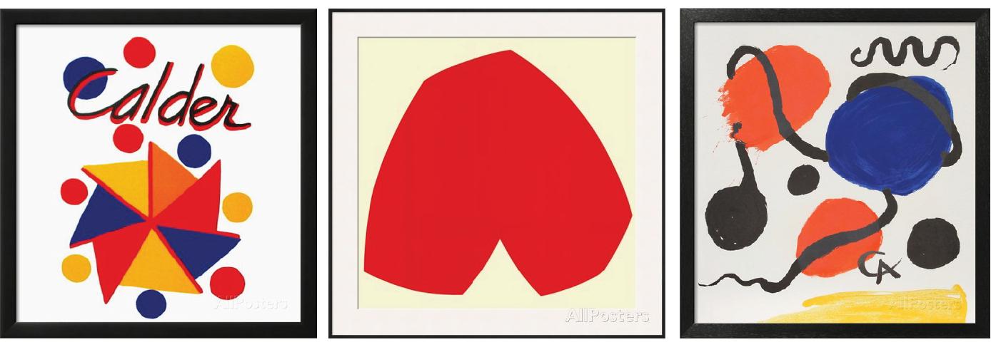 left to right: Expo 73, alexander calder - red white c.1962, ellsworth kelly, composition 1, alexander calder