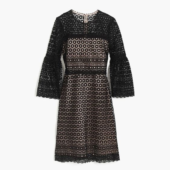 bell-sleeve daisylace dress  j crew— 30% off  purchase (here are our  other picks! )