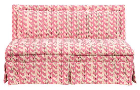 lela skirted settee, pink jetty stripe  one kings lane— 20% off sitewide