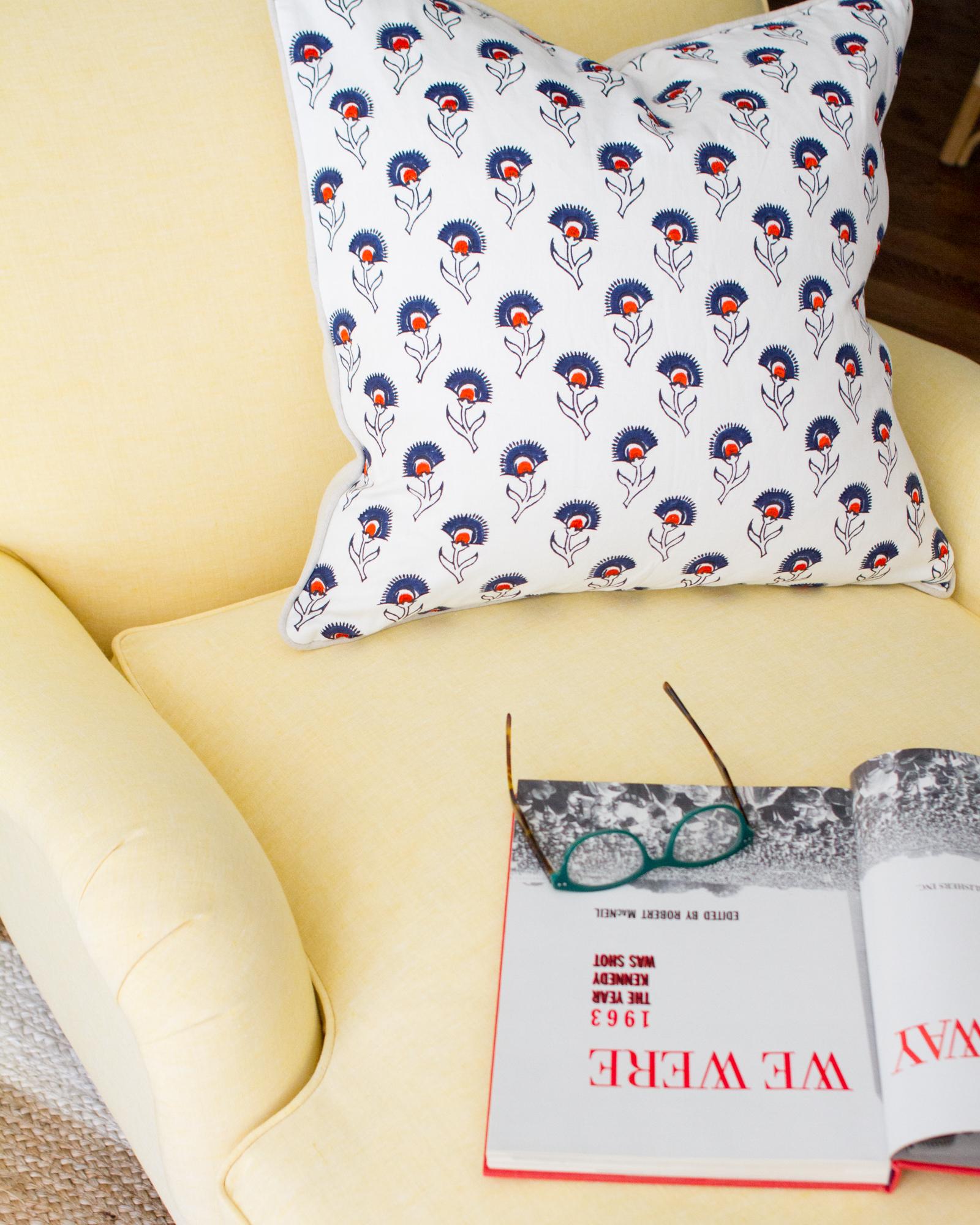 miramar chaise in yellow linen ,  hazel pillow cover