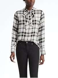 Tie Neck Flannel Shirt