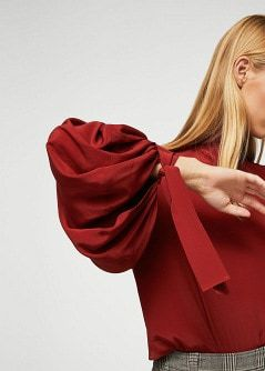 Puffed Sleeve Silk Blouse