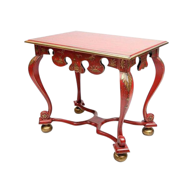 Gilded Red Accent Table