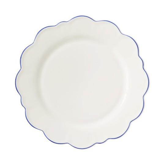 Blue Rim Scallop Plate