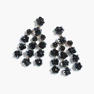 sequin-daisy chandelier earrings