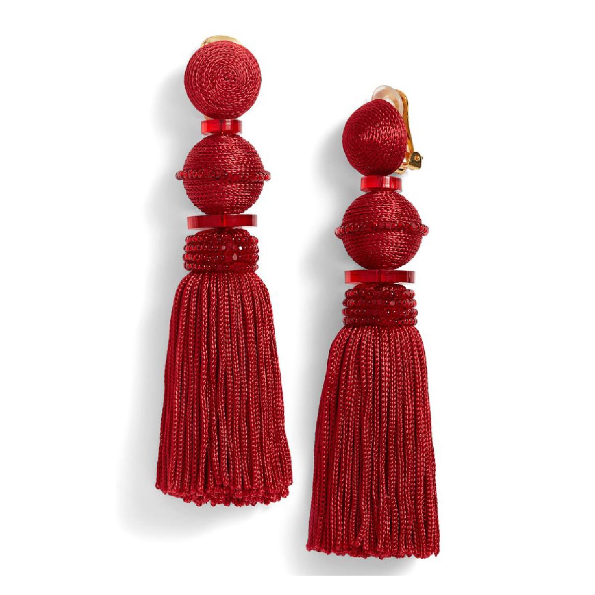 clip tassel drop earrings