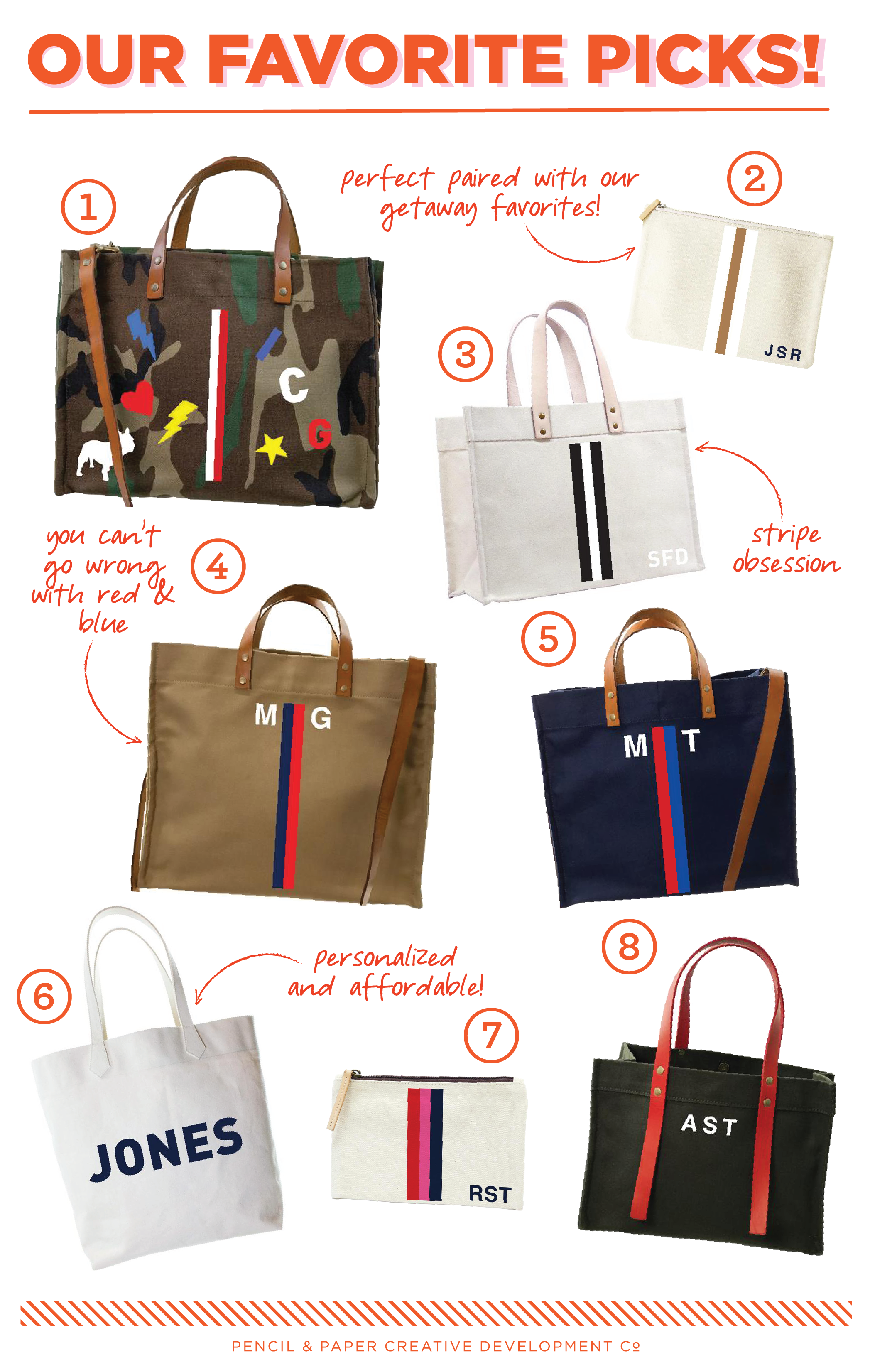 1.  mimi tote – camp and cognac leather – happy  / 2.  mimi flat clutch – natural – racer stripe white and chino  / 3.  original classic canvas tote – black and white racer stripe  / 4.  mimi tote – british khaki – wes anderson stripe – navy and red  / 5.  mimi tote – navy – wes anderson stripe – red and french blue  / 6.  the big bag  / 7.  classic clutch – surf stripe – red, pink, navy  / 8.  bea bag