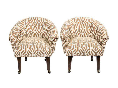 vintage tufted chairs – a pair