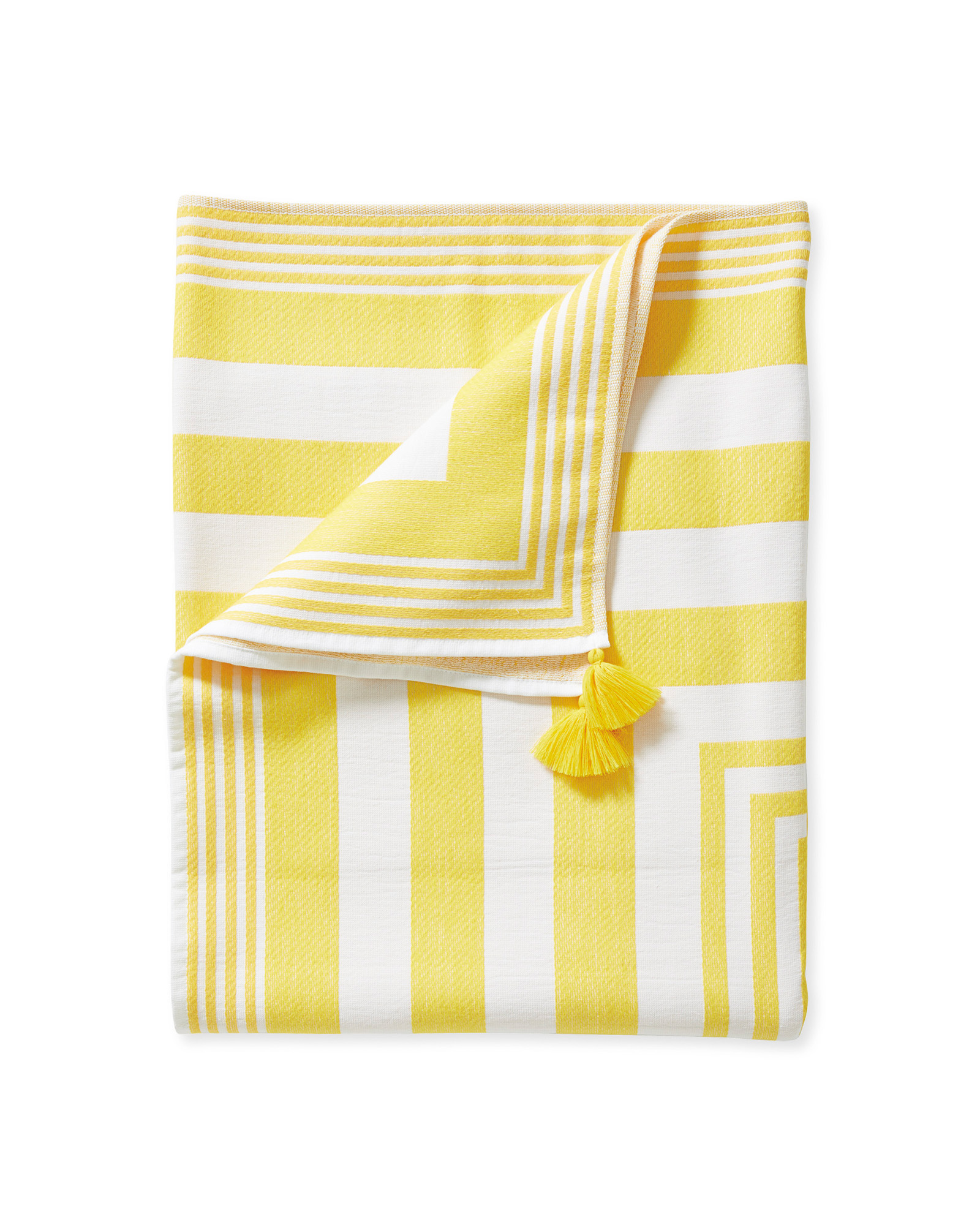 yellow striped beach towel