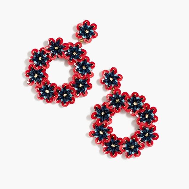 bead and sequin hoop earrings