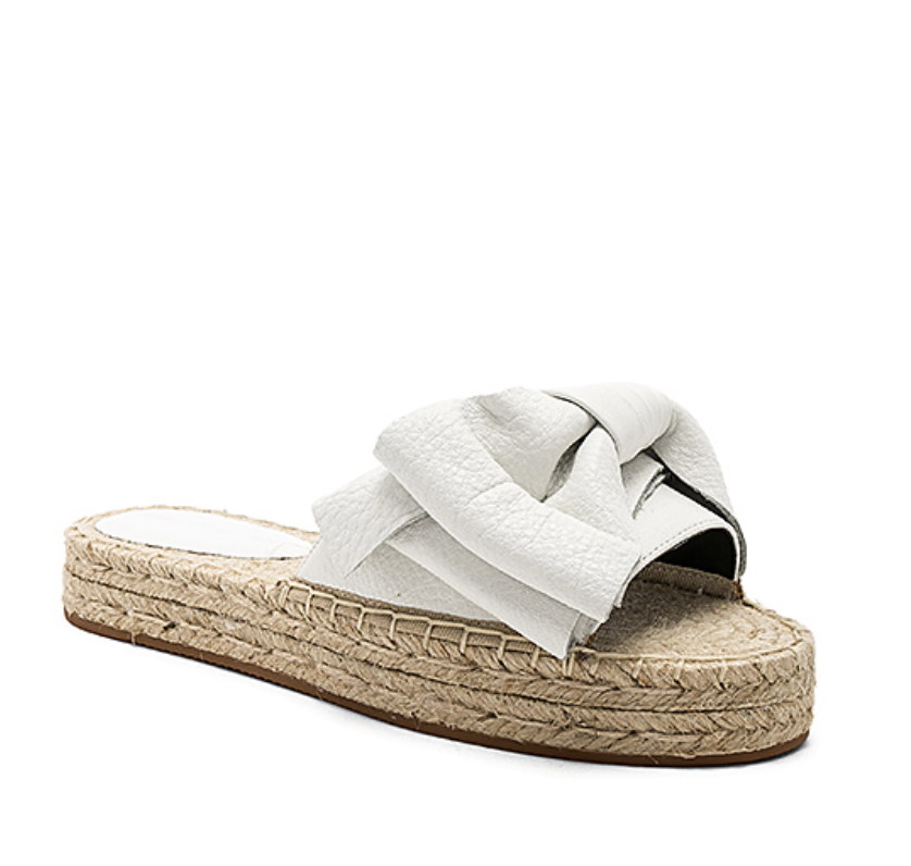 leather bow espadrilles