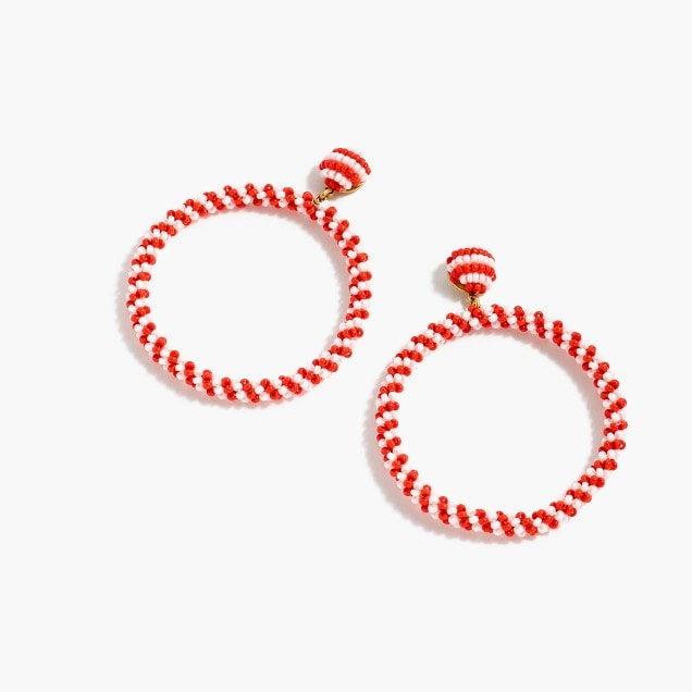 red and white striped beaded earrings