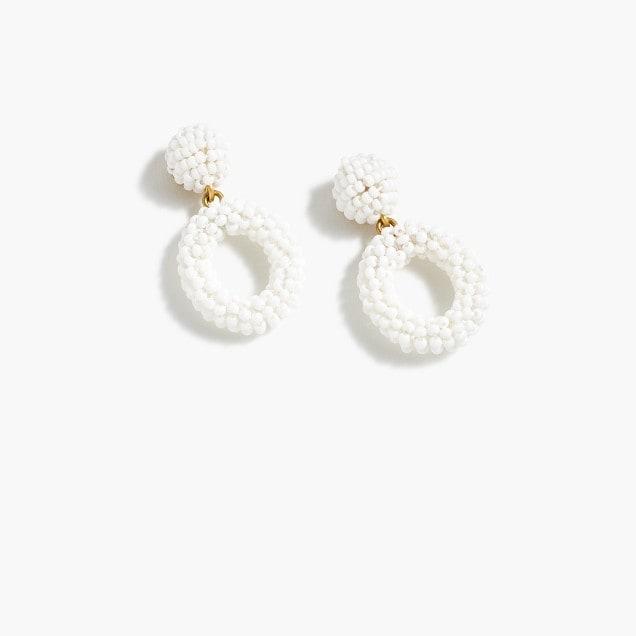 white beaded hoop earrings