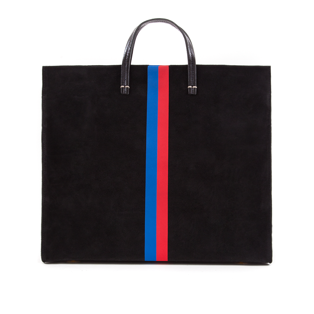 SImple-Tote---Black-Suede-w-Royal-Blue-and-Red-Stripes---TT1003-1545---Front.png