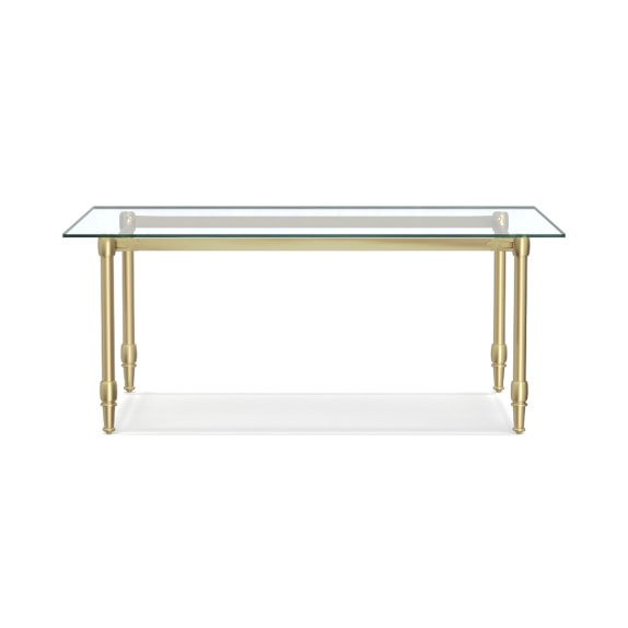 """this """"splurge-worthy"""" brass and glass dining table is marked down by nearly $1,000! score it here."""