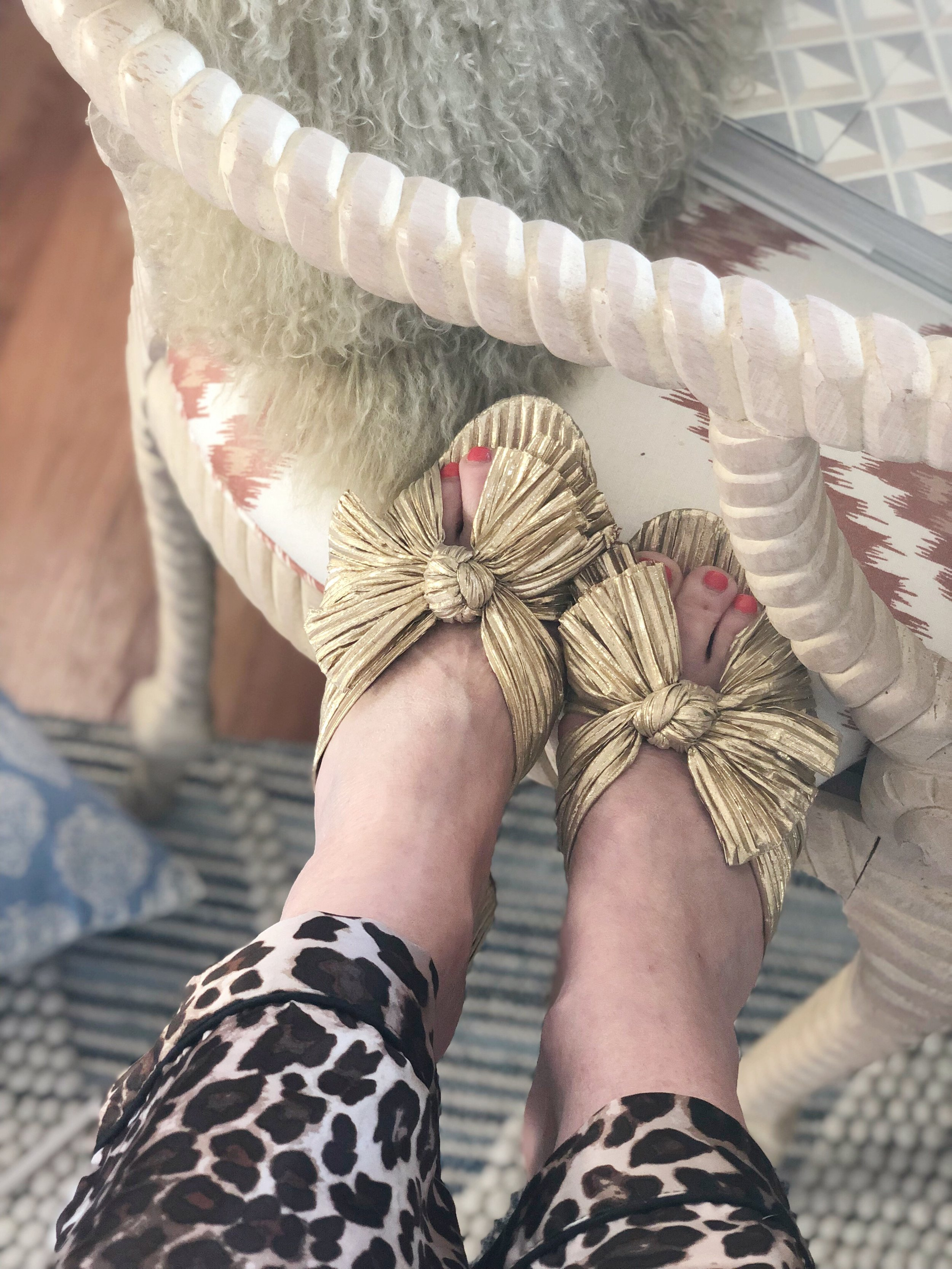 leopard print pajamas ,  gold knot mule