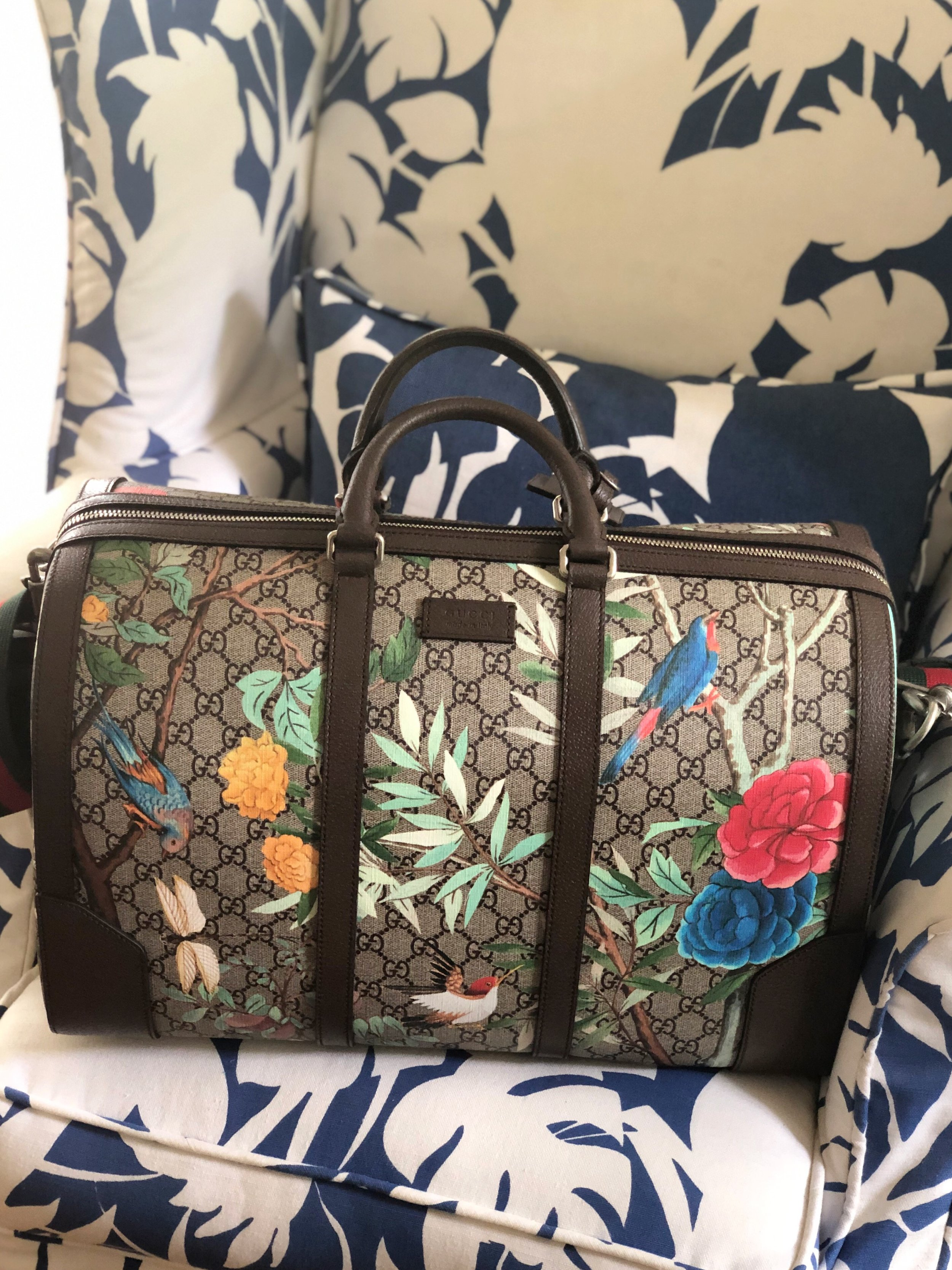 Gucci Tian Weekender Bag ,  Brunschwig & Fils Boca Chica Pattern