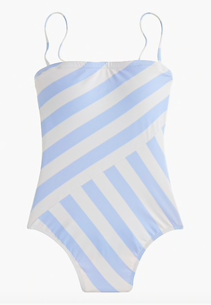 we're smitten for this  asymmetrical striped swimsuit  (now $36)!