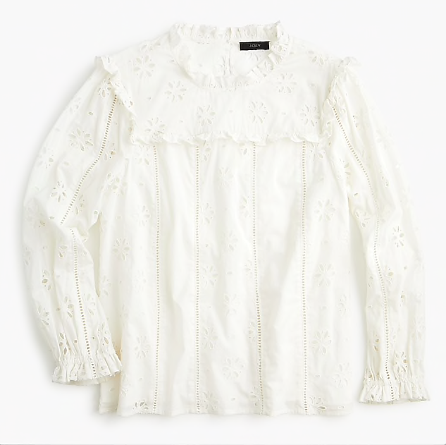 how sweet is this  ruffle eyelet top ? it's now $59!