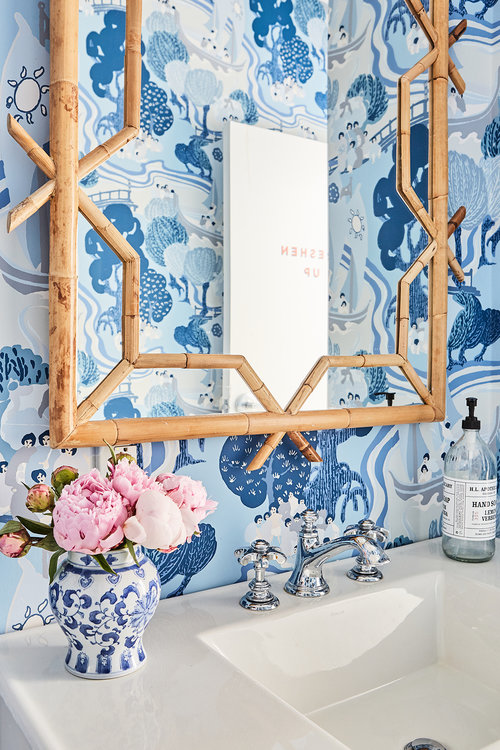 get the look from our bathroom office with this  wallpaper , this  mirror , and this darling  blue + white vase