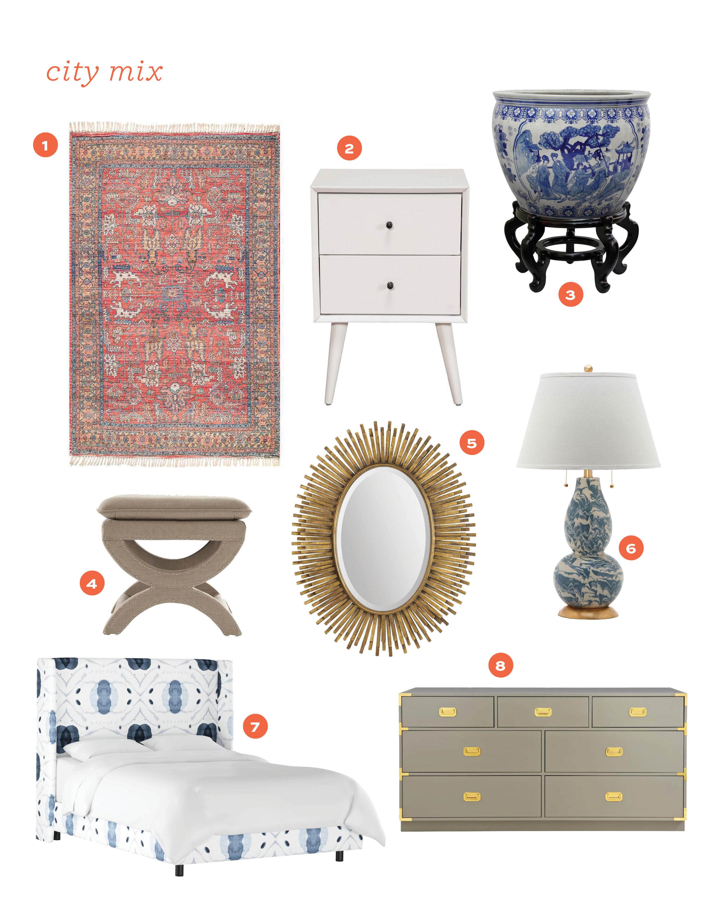 1.  flatweave rug  2.  mid century nightstand  3.  blue and white planter  4.  upholstered stool  5.  fringe frame mirror  6.  marbleized lamp  7.  wingback bed  8 . dresser