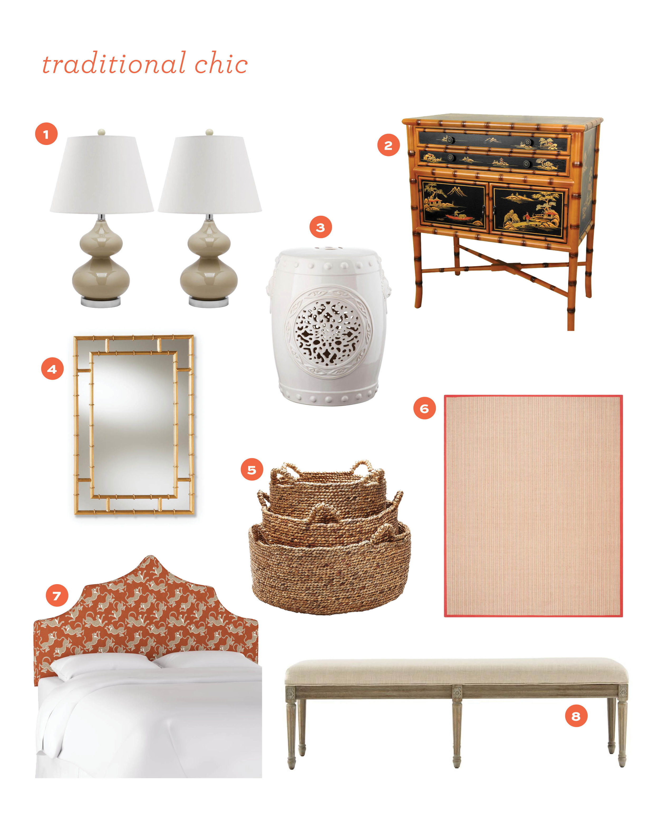 1.  taupe lamps  2.  bamboo cabinet  3.  garden stool  4.  bamboo inspired mirror  5.  natural baskets  6.  sisal rug  7.  leopard headboard  8.  upholstered bench