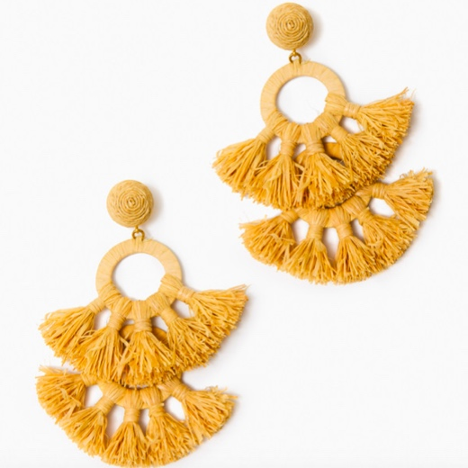 these  raffia fringe earrings  are so festive and fun!